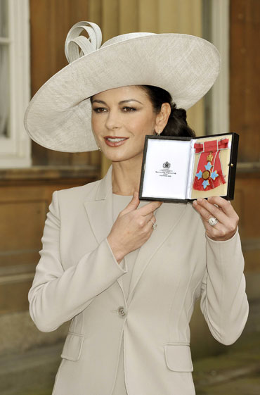 Catherine Zeta-Jones shows off her CBE award