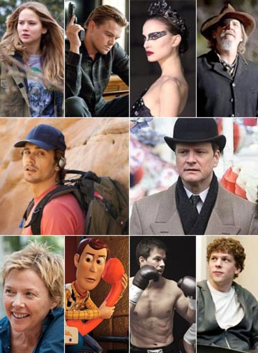 Scenes from Winter's Bone,  Inception, Black Swan, True Grit, 127 Hours, The King's Speech, The Kids Are All Right, Toy Story 3, The Fighter and The Social Network