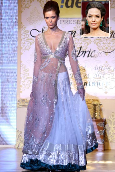 A model in Manish Malhotra's creation, and an inset of Angelina Jolie