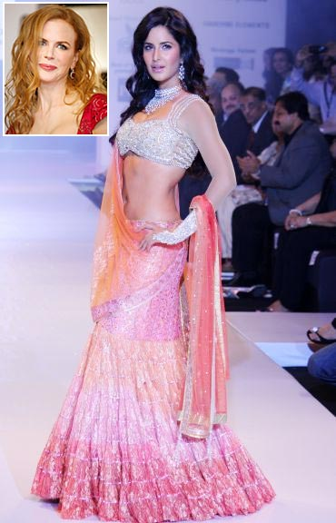 Katrina Kaif showcases a creation by Neeta Lulla, and an inset of Nicole Kidman