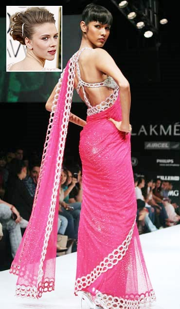 A model showcases Arpan Vohra's sari, and an inset of Scarlett Johansson