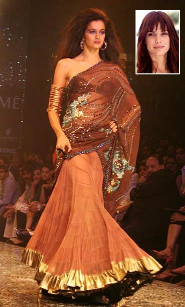 A model showcases Suneet Verma's creation, and an inset of Sandra Bullock