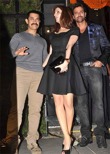 Aamir Khan with Sussanne and Hrithik Roshan