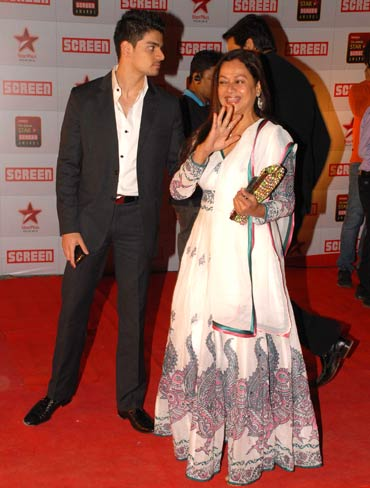 Zarina Wahab with her son Suraj.