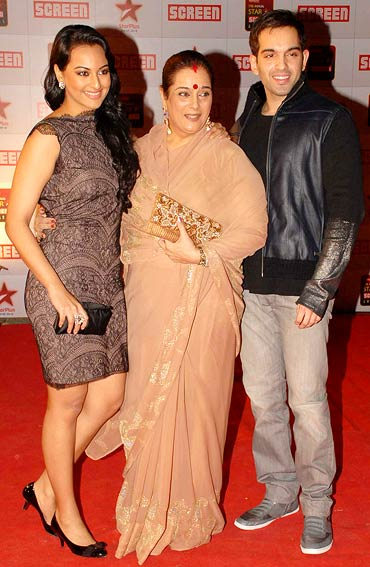 Sonakshi, Poonam and Luv Sinha