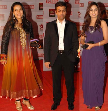 Kajol, Karan Johar and Shreya Ghosal.