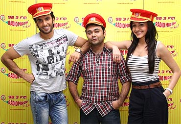 Ranveer Singh, Maneesh Sharma and Anushka Sharma