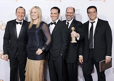 From left to right: The Social Network executive producer Kevin Spacey, producers Cean Chaffin, Dana Brunetti, Scott Rudin, and Michael De Luca