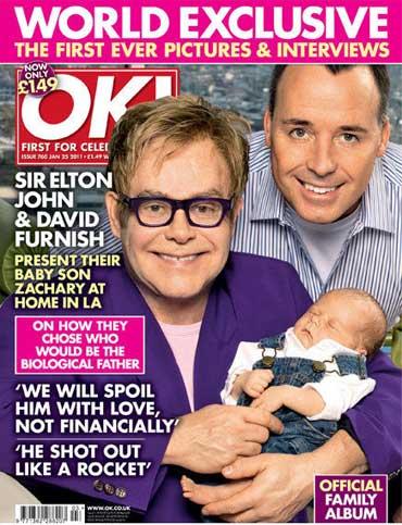 Elton John with David Furnish and son Zachary