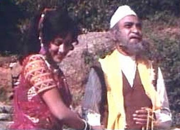 A K Hangal and Hema Malini in Sholay