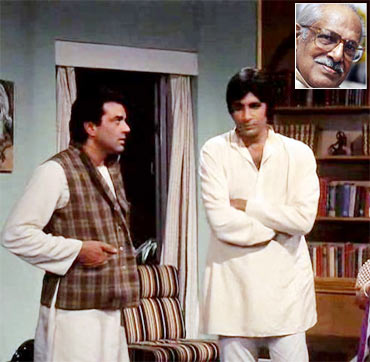 A scene from Chupke Chupke. Inset: Hrishikesh Mukherjee