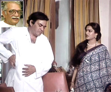 A scene from Angoor. Inset: Gulzar
