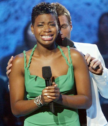 Fantasia Barrino cries after performing her final song at the Kodak Theatre in Hollywood