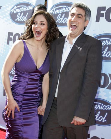 Katharine McPhee and Taylor Hicks arrive for the final telecast of the show