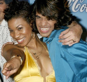 Contestants Stephanie Edwards and Sanjaya Malakar at a party celebrating the Top 12 in Los Angeles