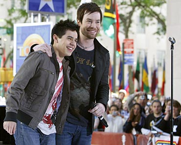 American Idol finalists David Archuleta and David Cook appear together on NBC's Today show in New York