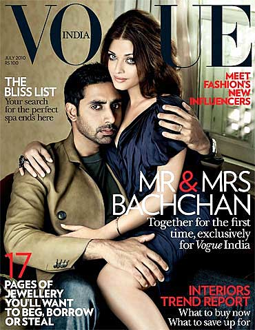 Abhishek and Aishwarya Rai Bachchan on the cover of Vogue