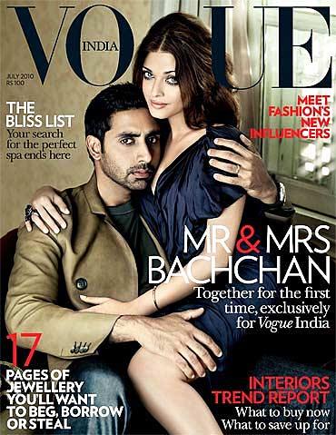 Abhishek and Aishwarya Rai Bachchan on the cover of Vogue