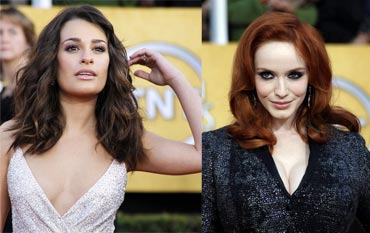 Lea Michele and Christina Hendricks