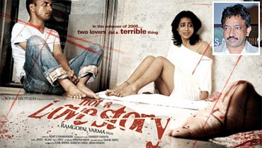 Poster of Not A Love Story. Inset: Ram Gopal Varma