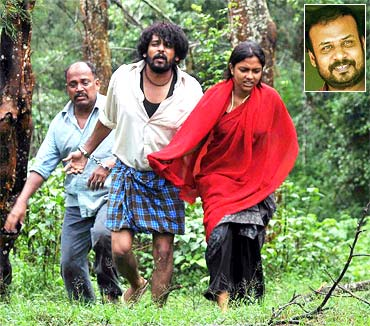 A still from Mynaa. Inset: Prabhu Solomon