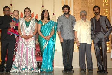 Selvaraghavan, Geetnjali. Jayam Ravi with his father and Dhanush with guests