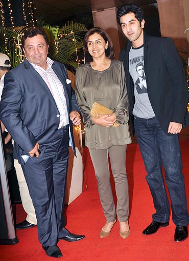 Ranbir with parents Rishi and Neetu Kapoor