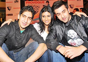 Ranbir with his Wake Up Sid director Ayaan Mukherjee and Konkona Sen Sharma