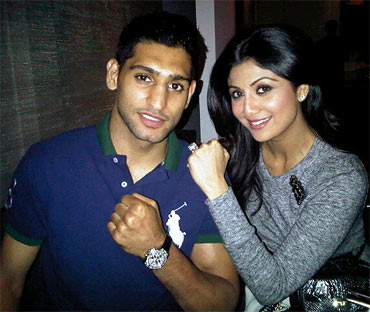 Boxer Amir King Khan and Shilpa Shetty