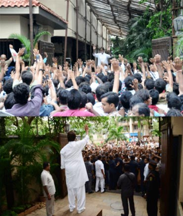 Amitabh Bachchan addressing his fans outside his house