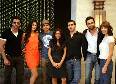 Hrithik Roshan, Katrina Kaif, Farhan Akhtar, Zoya Akhtar, Ritesh Sidhwani, Abhay Deol and Kalki Koechlin