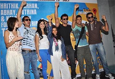 Kalki Koechlin, Ritesh Sidhwani, Katrina Kaif, Zoya Akhtar, Hrithik Roshan, Farhan Akhtar and Abhay Deol