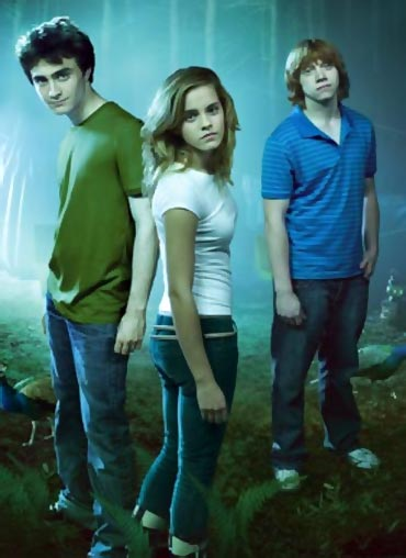 Daniel Radcliffe, Emma Watson and Rupert Grint as Harry, Hermione and Ron
