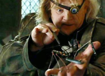 Mad-Eye Moody performs the Unforgivable Curses on a spider