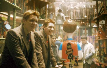Fred and George at their Weasleys' Wizard Wheezes shop