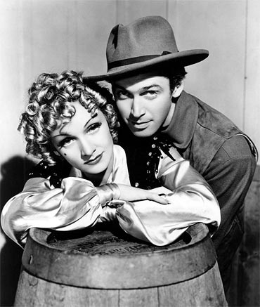 James Stewart and Marlene Dietrich in Destry Rides Again