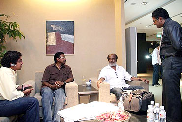 Rajnikanth chats with his fans