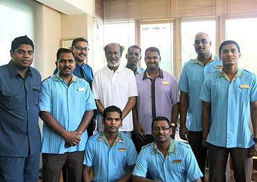 Rajnikanth with the hospital staff