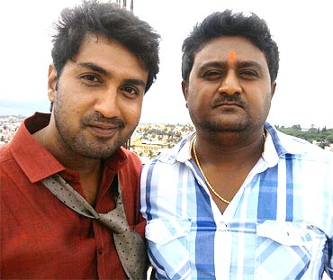 Harish Raj and Komal on the sets of Govindayanamaha
