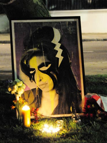 Amy Winehouse vigil outside the late singer's North London home