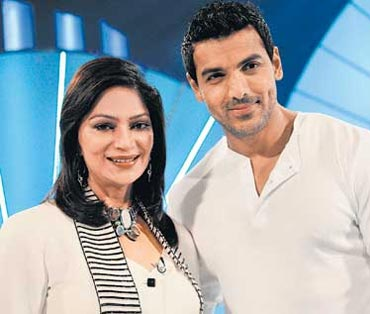 Simi Garewal with guest John Abraham
