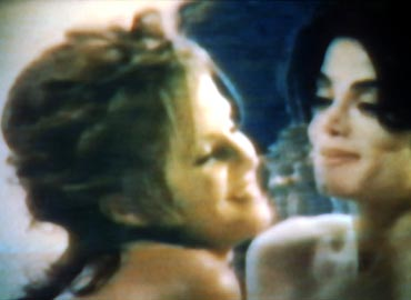A video grab of MJ's You Are Not Alone featuring MJ and Lisa Marie