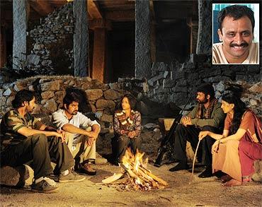 A scene from Virodhi. Inset: Director Neelakantha