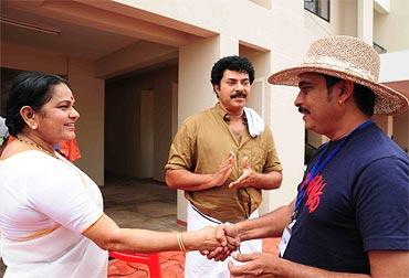 KPAC Lalitha with Mammootty and Jayaraj