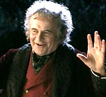 Iam Holm as Bilbo Baggins in Lord Of The Rings