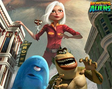 A scene from Monsters Vs Aliens