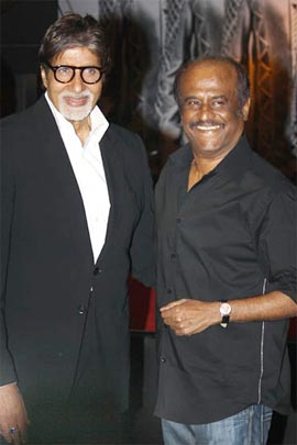 Amitabh Bachchan and Rajnikanth at the music launch of Robot in Mumbai