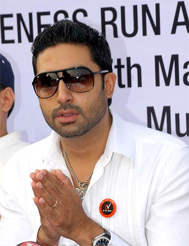 Abhishek Bachchan making an appeal