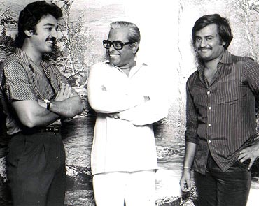 Rajinikanth with K Balachander (centre) and Kamal Haasan