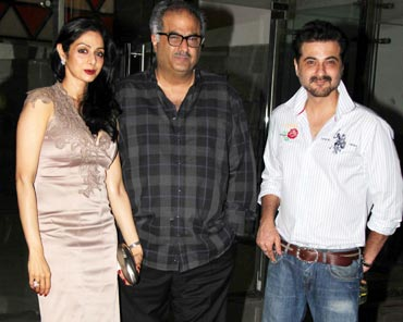 Boney Kapoor, Sridevi and Sanjay Kapoor
